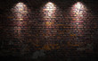 canvas print picture - Brick wall with lights