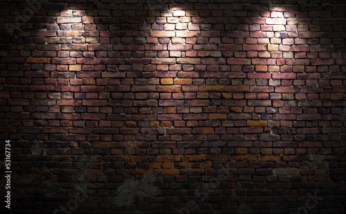 Recess Fitting Brick wall Brick wall with lights