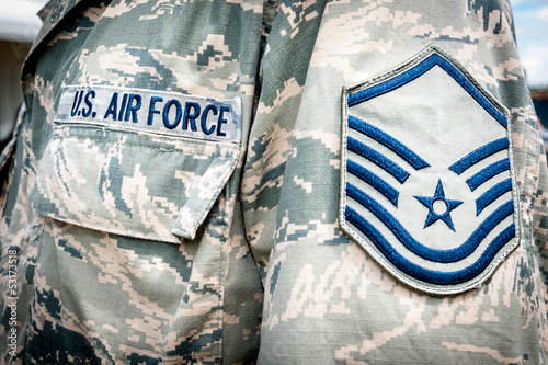 Photo U.S. army air force emblem and rank on soldier uniform