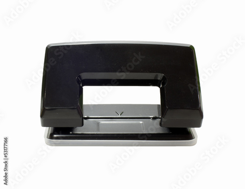 Fényképezés  Black office hole punch on a white