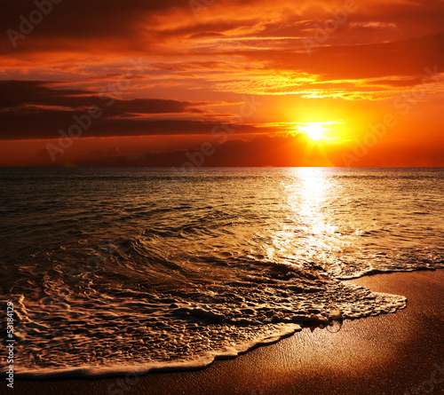 Photo Stands Brown Sea sunset