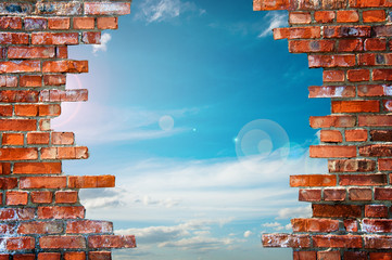 Fototapeta brick wall with hole
