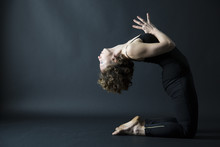 Yoga Posture Backbanding Pose With Anjeli Mudra Side View