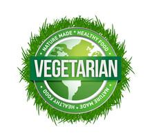 Vegetarian Green Seal Illustration Design