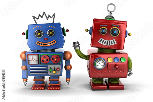 Photo  Toy robot buddies over white background