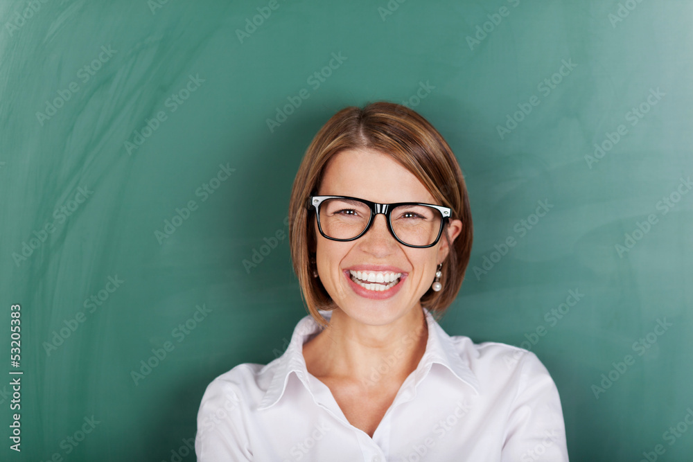Fototapety, obrazy: Laughing woman wearing glasses