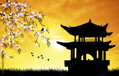 Wallpaper Mural Chinese pagoda