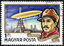 Alberto Santos-Dumont And His Dirigible Over Eiffel Tower