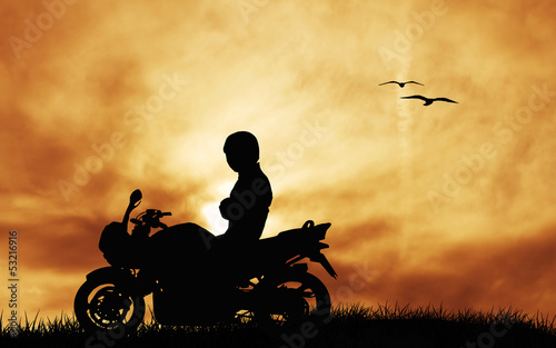 Poster Motocyclette motorcyclist at sunset