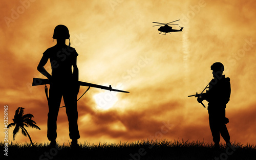 Poster Militaire soldiers silhouette