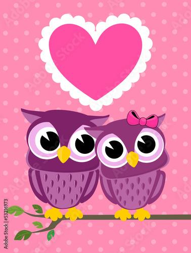 Canvas Prints Owls cartoon owls love greeting card