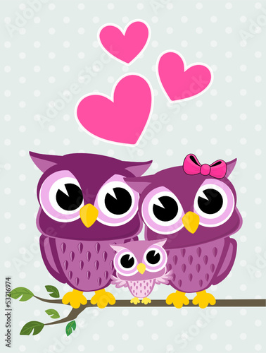 Foto op Plexiglas Uilen cartoon owls family love