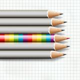 Rainbow pencil near simple, vector Eps10 image.