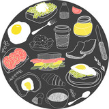 Round card with breakfast icons. Vector illustration set - 53223117