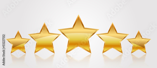 Vector illustration of 5 gold stars Tableau sur Toile
