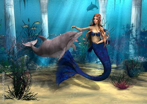 Wall Murals Mermaid Mermaid and Dolphin