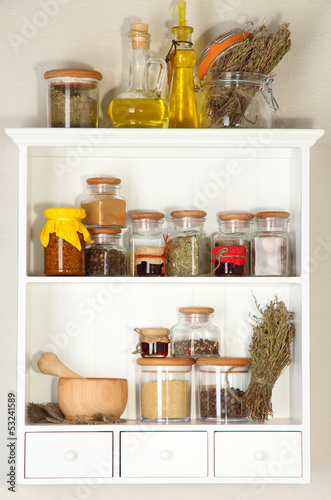 Photo Stands Herbs 2 Variety spices on kitchen shelves