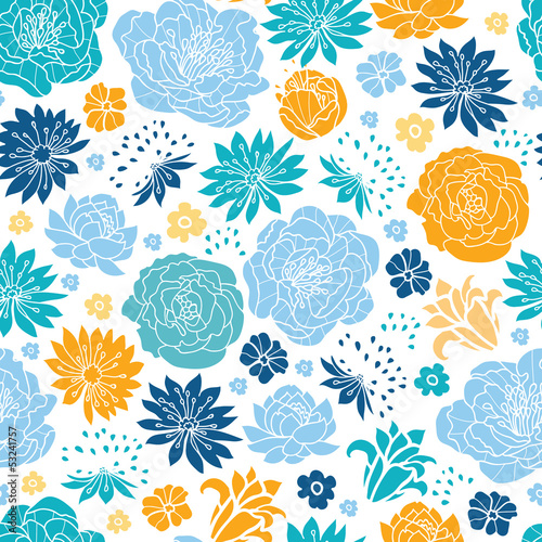 Vector blue and yellow flowersilhouettes seamless pattern