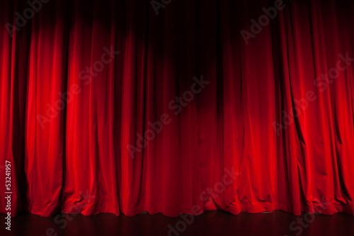 Aluminium Prints Theater Curtain from the theatre with a spotlight