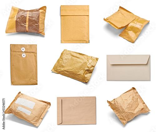 Obraz mail package envelope box used open postal - fototapety do salonu