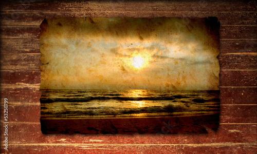 Poster Affiche vintage Holzplakat - Meer