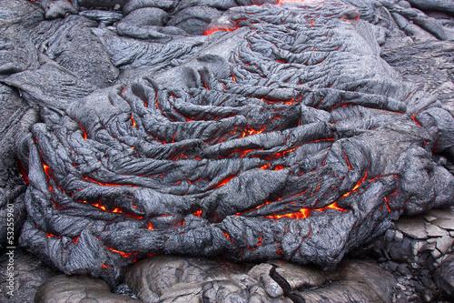 Autocollant pour porte Volcan Basaltic lava flow solidifying slowly
