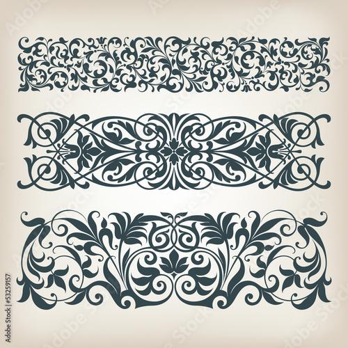 Fotografie, Obraz  vintage set border frame ornate  scroll calligraphy vector