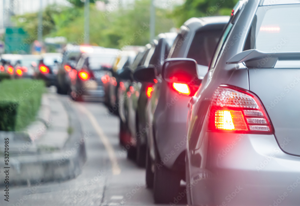 Fototapety, obrazy: Car queue in the bad traffic road