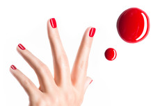 Beautiful Female Hands With Red Manicure