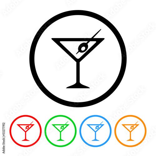 Fotografía  Martini Icon Vector with Four Color Variations