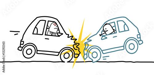Staande foto Cartoon cars 2 car crash