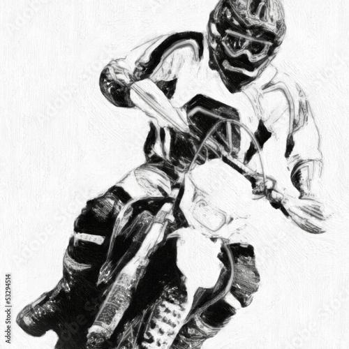 Poster Motocyclette motocross B&W - oil paint