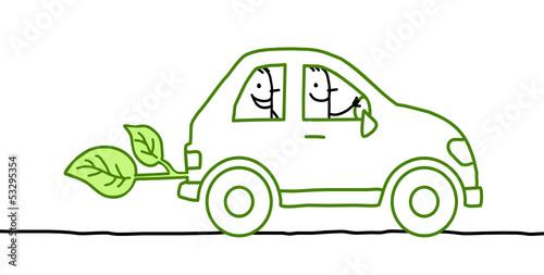 Valokuva  2 men in green car