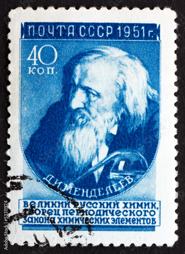 Photo  Postage stamp Russia 1951 Dmitri Ivanovich Mendeleev, Chemist an