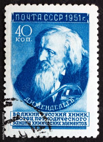 Fotografering  Postage stamp Russia 1951 Dmitri Ivanovich Mendeleev, Chemist an