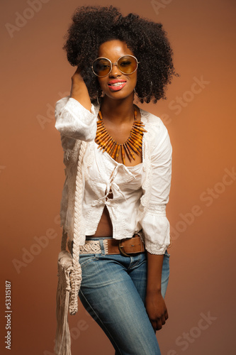 Vintage 70s Fashion Black Woman With Sunglasses White Shirt And