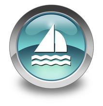 "Light Blue Glossy Pictogram ""Sailing"""