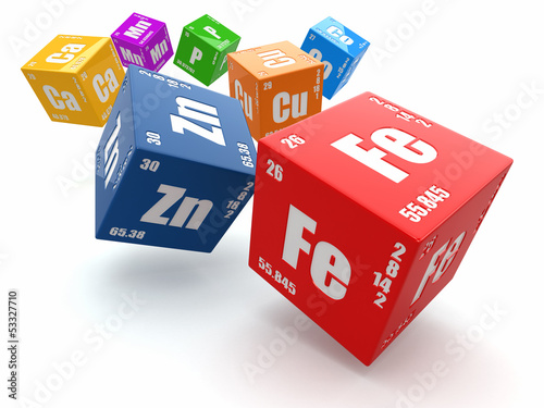 Fotografia  Concept of chemistry. Periodic table of element on cubes.