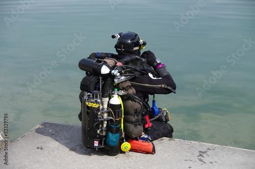 Fotografie, Obraz  plongeur -chercheur