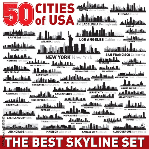 Photo The Best vector city skyline silhouettes set
