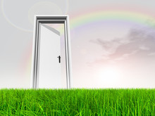 Conceptual Door On Grass Over ...