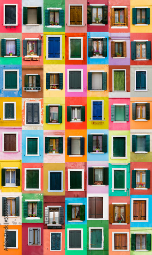 Canvas Print Burano windows, Italy