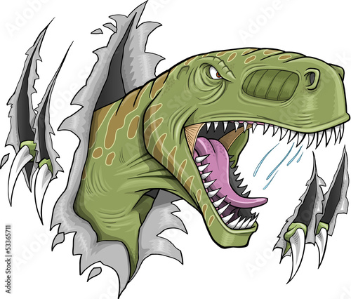 Poster Cartoon draw Tyrannosaurus Rex Dinosaur Vector Illustration