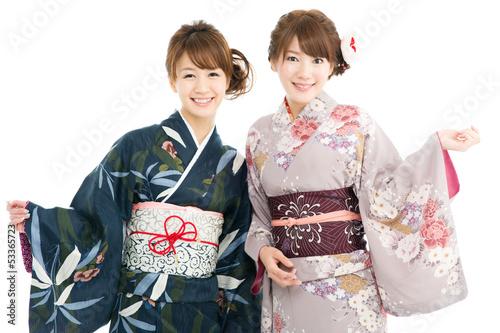 Canvas-taulu Beautiful japanese kimono women isolated on white background