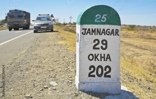 Jamnagar direction milestone State Hig Plakat