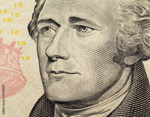 Fotografía Alexander Hamilton on US ten dollars bank note close up