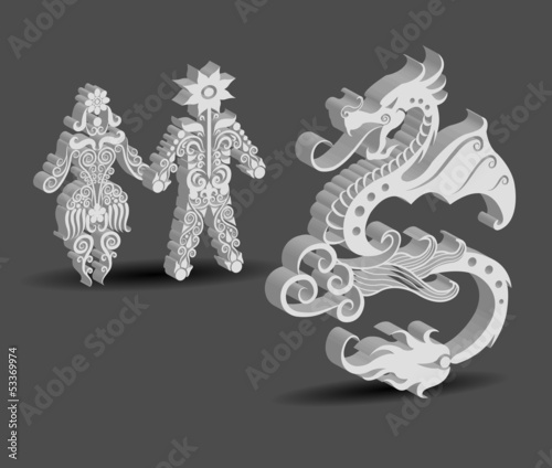 People and Dragon Symbol Floral Decorations