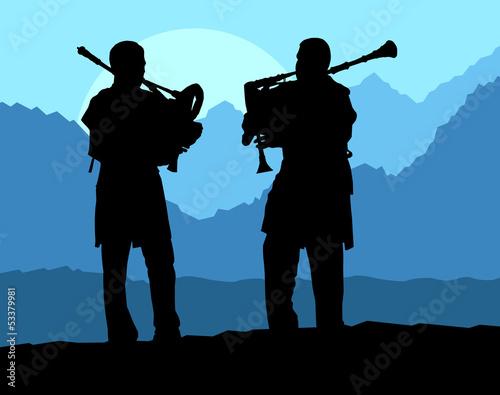 Poster Militaire Scottish bagpiper silhouette landscape vector background