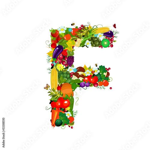 Fototapeta Fresh vegetables and fruits letter F obraz na płótnie
