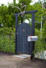 Wooden Garden Gate With Deer A...